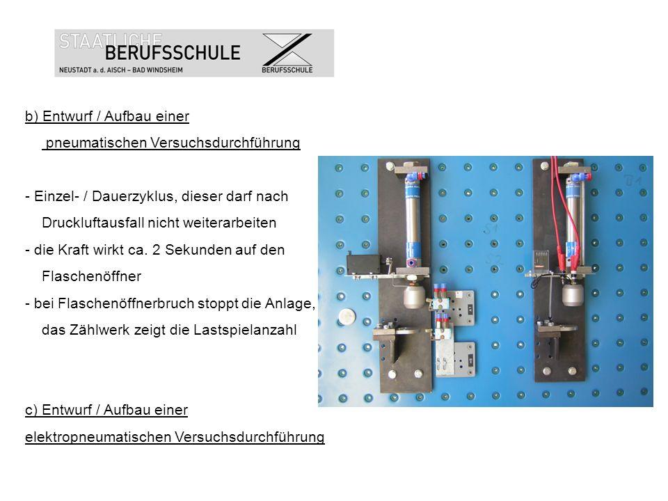 b) Entwurf / Aufbau einer pneumatischen Versuchsdurchführung - Einzel- / Dauerzyklus, dieser darf nach Druckluftausfall nicht weiterarbeiten - die Kra