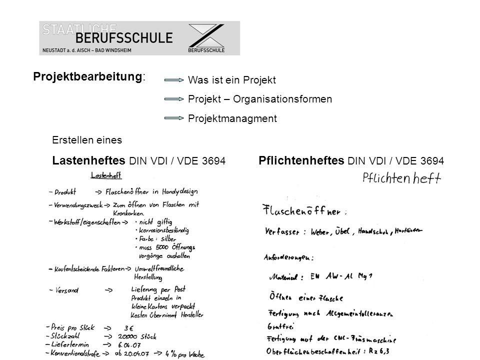 Projektbearbeitung: Was ist ein Projekt Projekt – Organisationsformen Projektmanagment Erstellen eines Lastenheftes DIN VDI / VDE 3694 Pflichtenheftes