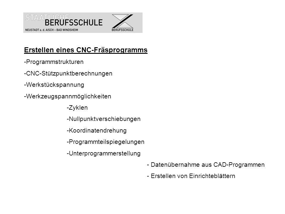 Erstellen eines CNC-Fräsprogramms -Programmstrukturen -CNC-Stützpunktberechnungen -Werkstückspannung -Werkzeugspannmöglichkeiten -Zyklen -Nullpunktver