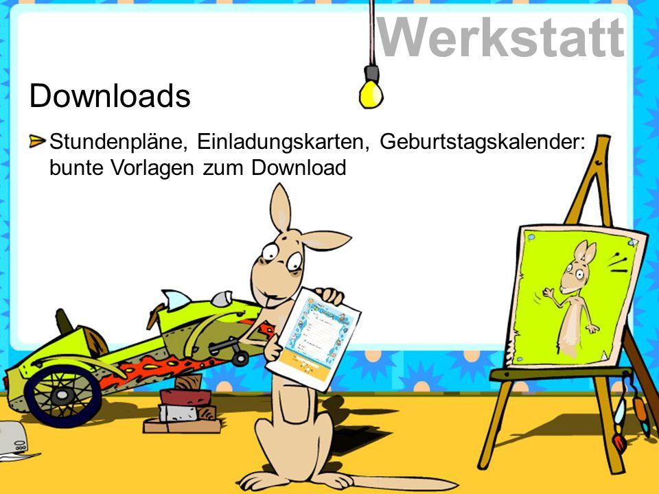 Downloads Stundenpläne, Einladungskarten, Geburtstagskalender: bunte Vorlagen zum Download Werkstatt