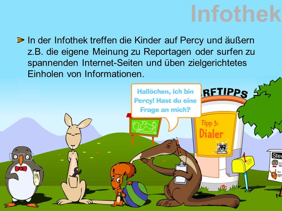 Infothek In der Infothek treffen die Kinder auf Percy und äußern z.B. die eigene Meinung zu Reportagen oder surfen zu spannenden Internet-Seiten und ü