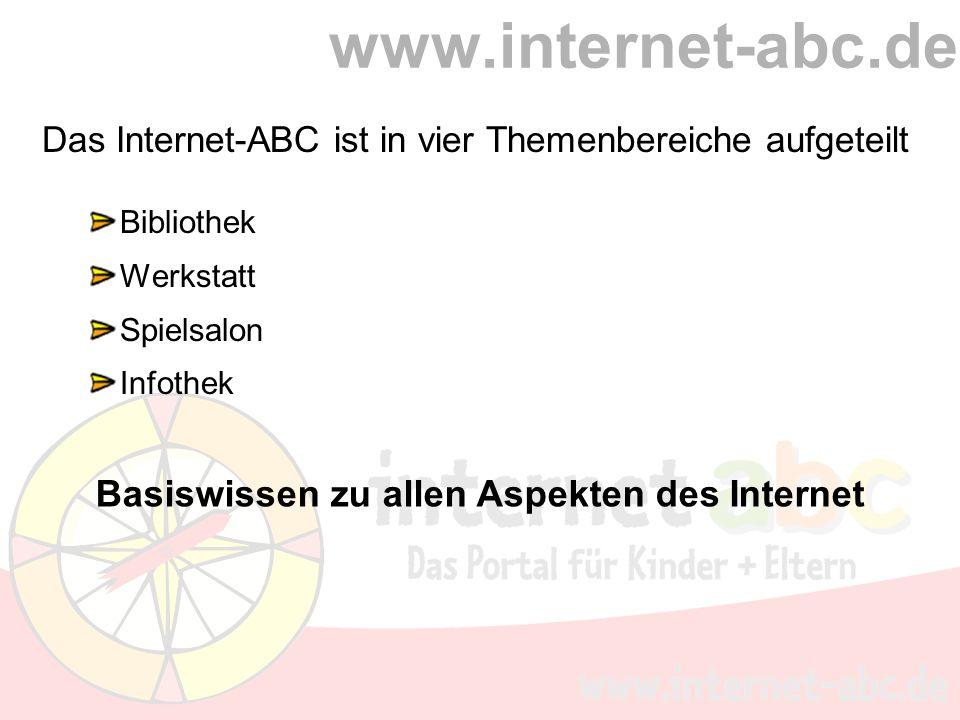 www.internet-abc.de Das Internet-ABC ist in vier Themenbereiche aufgeteilt Bibliothek Werkstatt Spielsalon Infothek Basiswissen zu allen Aspekten des