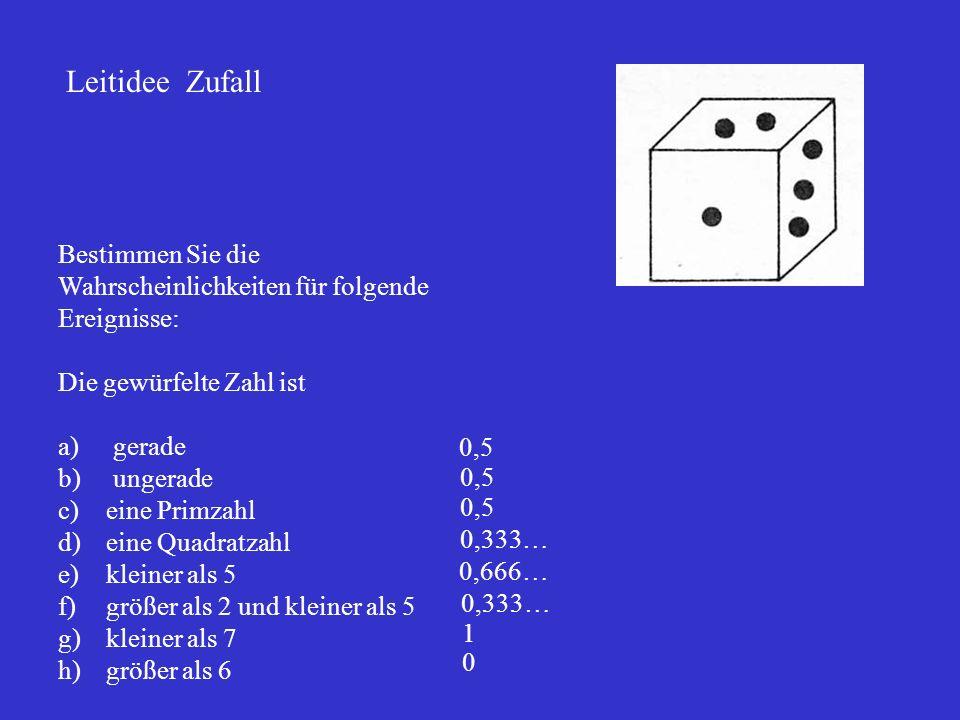 Leitidee Zufall Bestimmen Sie die Wahrscheinlichkeiten für folgende Ereignisse: Die gewürfelte Zahl ist a) gerade b) ungerade c)eine Primzahl d)eine Q