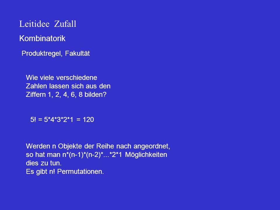 Kombinatorik Produktregel, Fakultät Leitidee Zufall Wie viele verschiedene Zahlen lassen sich aus den Ziffern 1, 2, 4, 6, 8 bilden? 5! = 5*4*3*2*1 = 1