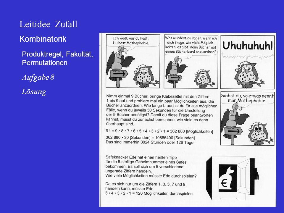 Kombinatorik Produktregel, Fakultät, Permutationen Leitidee Zufall Aufgabe 8 Lösung
