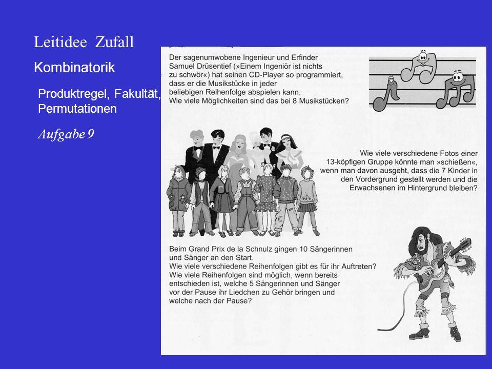 Kombinatorik Produktregel, Fakultät, Permutationen Leitidee Zufall Aufgabe 9