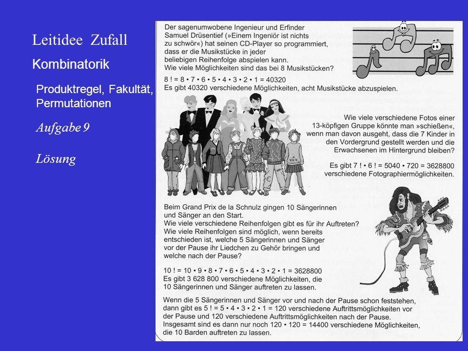 Kombinatorik Produktregel, Fakultät, Permutationen Leitidee Zufall Aufgabe 9 Lösung