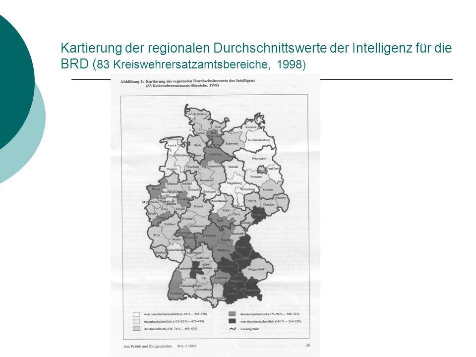 Kartierung der regionalen Durchschnittswerte der Intelligenz für die BRD ( 83 Kreiswehrersatzamtsbereiche, 1998)