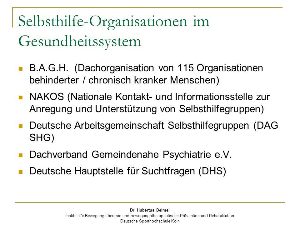 Dr. Hubertus Deimel Institut für Bewegungstherapie und bewegungstherapeutische Prävention und Rehabilitation Deutsche Sporthochschule Köln Selbsthilfe
