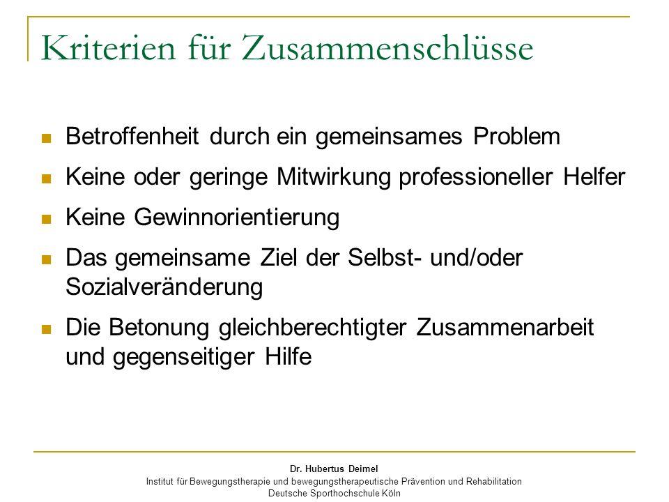 Dr. Hubertus Deimel Institut für Bewegungstherapie und bewegungstherapeutische Prävention und Rehabilitation Deutsche Sporthochschule Köln Kriterien f