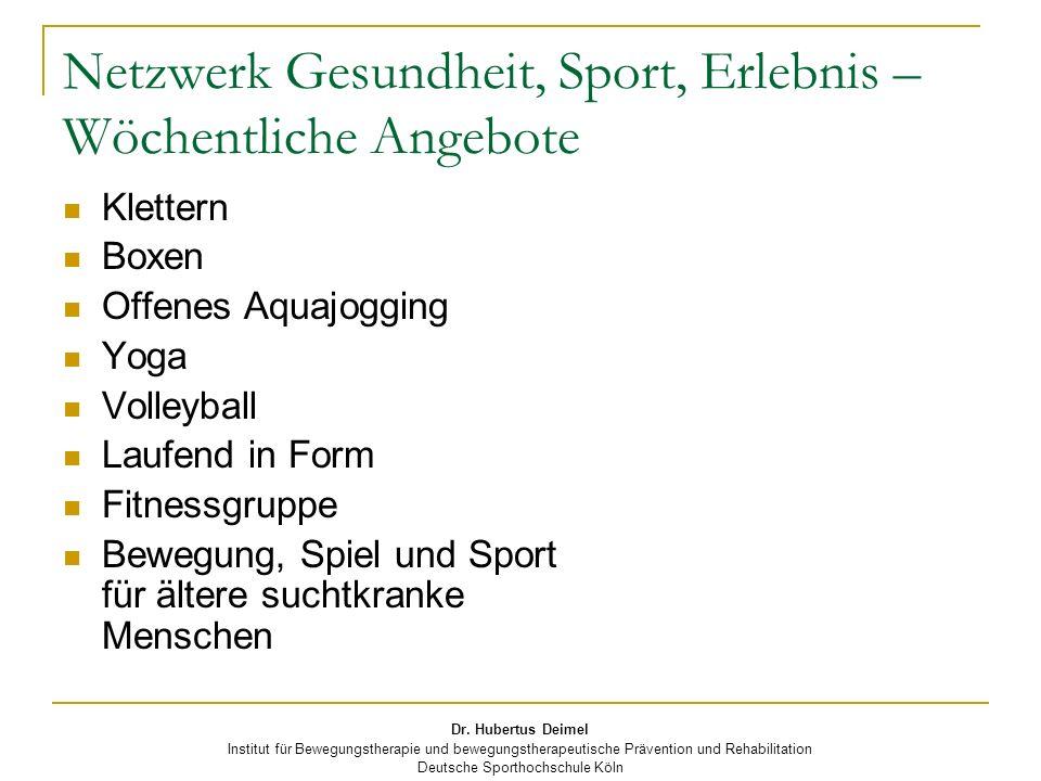 Dr. Hubertus Deimel Institut für Bewegungstherapie und bewegungstherapeutische Prävention und Rehabilitation Deutsche Sporthochschule Köln Netzwerk Ge