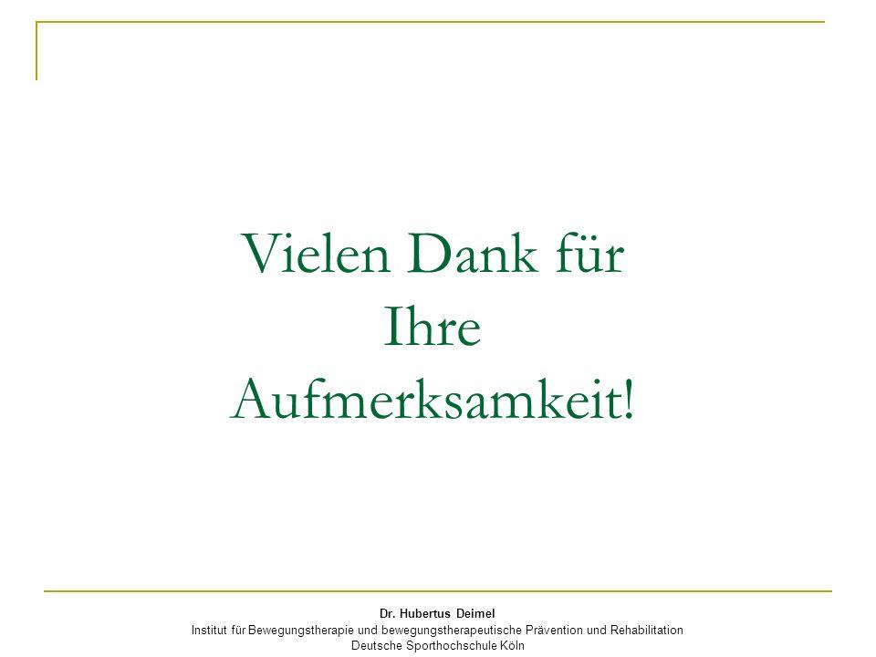 Dr. Hubertus Deimel Institut für Bewegungstherapie und bewegungstherapeutische Prävention und Rehabilitation Deutsche Sporthochschule Köln Vielen Dank