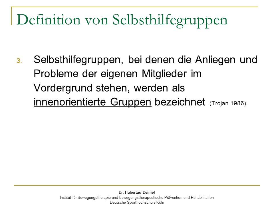 Dr. Hubertus Deimel Institut für Bewegungstherapie und bewegungstherapeutische Prävention und Rehabilitation Deutsche Sporthochschule Köln Definition