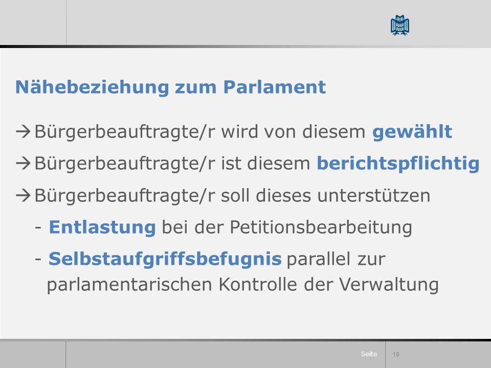 Seite Nähebeziehung zum Parlament Bürgerbeauftragte/r wird von diesem gewählt Bürgerbeauftragte/r ist diesem berichtspflichtig Bürgerbeauftragte/r sol