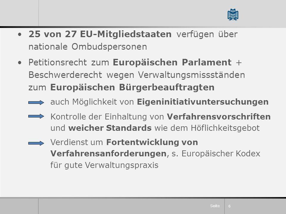 Seite 25 von 27 EU-Mitgliedstaaten verfügen über nationale Ombudspersonen Petitionsrecht zum Europäischen Parlament + Beschwerderecht wegen Verwaltung