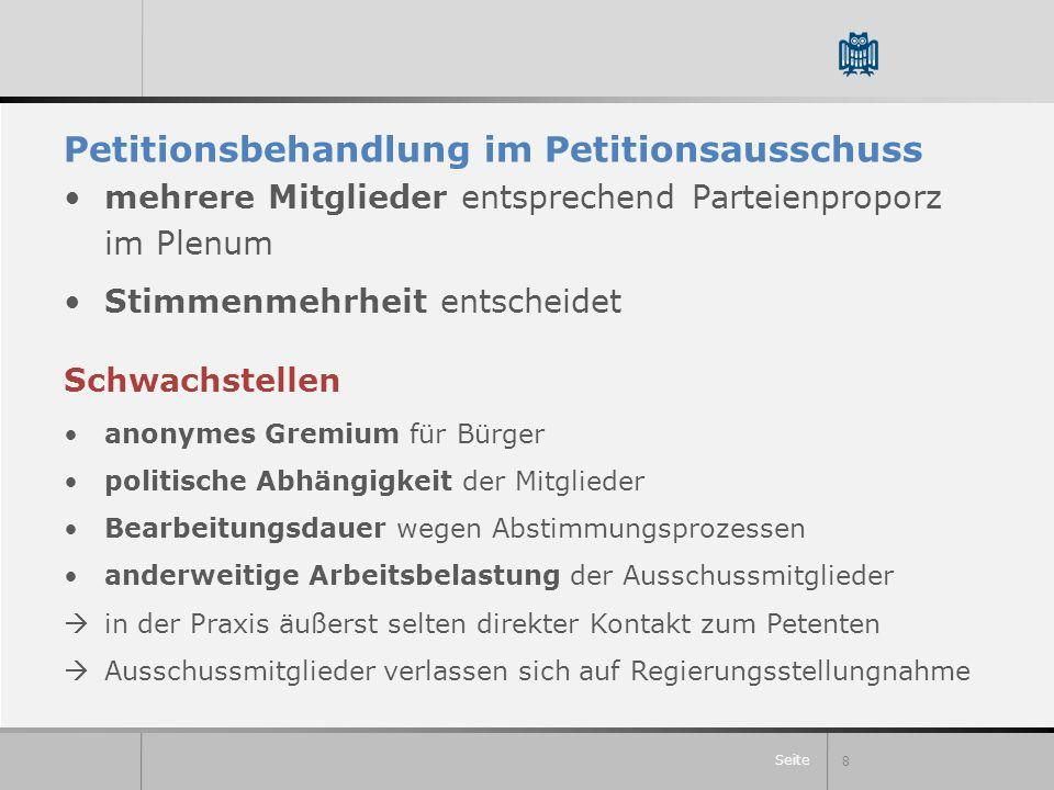 Seite Petitionsbehandlung im Petitionsausschuss mehrere Mitglieder entsprechend Parteienproporz im Plenum Stimmenmehrheit entscheidet 8 Schwachstellen