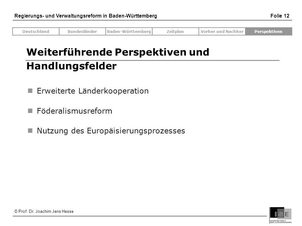 © Prof. Dr. Joachim Jens Hesse Regierungs- und Verwaltungsreform in Baden-Württemberg Folie 12 Weiterführende Perspektiven und Handlungsfelder Erweite