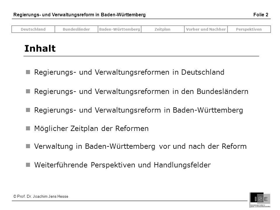 © Prof. Dr. Joachim Jens Hesse Regierungs- und Verwaltungsreform in Baden-Württemberg Folie 2 Inhalt Regierungs- und Verwaltungsreformen in Deutschlan