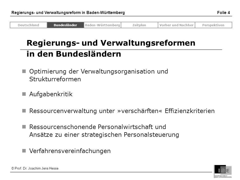 © Prof. Dr. Joachim Jens Hesse Regierungs- und Verwaltungsreform in Baden-Württemberg Folie 4 Regierungs- und Verwaltungsreformen in den Bundesländern
