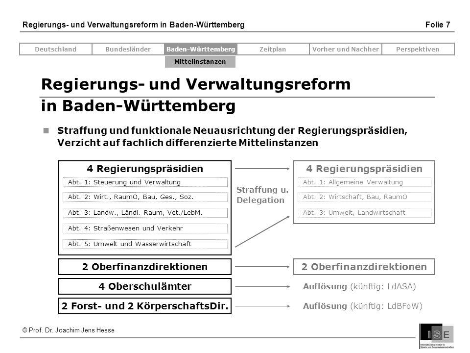 © Prof. Dr. Joachim Jens Hesse Regierungs- und Verwaltungsreform in Baden-Württemberg Folie 7 Regierungs- und Verwaltungsreform in Baden-Württemberg S