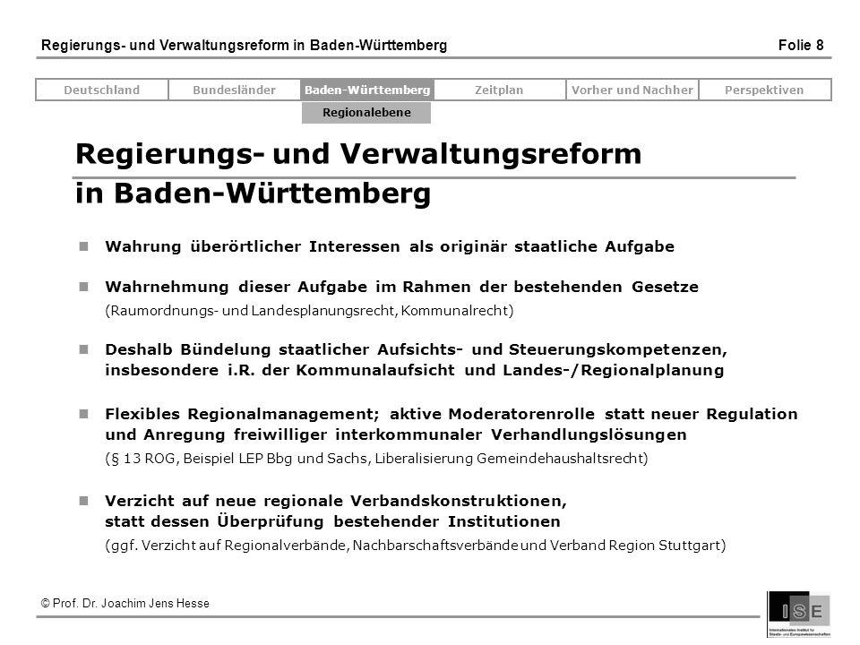 © Prof. Dr. Joachim Jens Hesse Regierungs- und Verwaltungsreform in Baden-Württemberg Folie 8 Regierungs- und Verwaltungsreform in Baden-Württemberg W