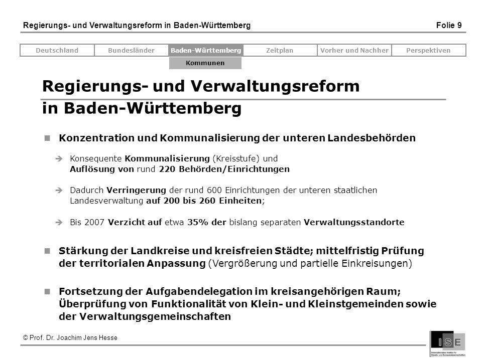 © Prof. Dr. Joachim Jens Hesse Regierungs- und Verwaltungsreform in Baden-Württemberg Folie 9 Regierungs- und Verwaltungsreform in Baden-Württemberg K