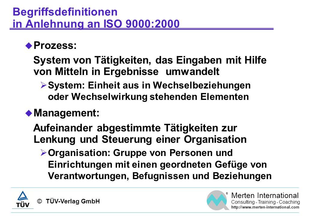© TÜV-Verlag GmbH ® Merten International Consulting - Training - Coaching http://www.merten-international.com Prozessmanagement im Überblick Prozesse identifizieren und abgrenzen Prozesse analysieren und dokumentieren Messsystem entwickeln Prozesse lenken und laufend verbessern