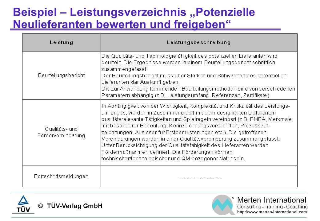 © TÜV-Verlag GmbH ® Merten International Consulting - Training - Coaching http://www.merten-international.com Beispiel – Leistungsverzeichnis Potenzie