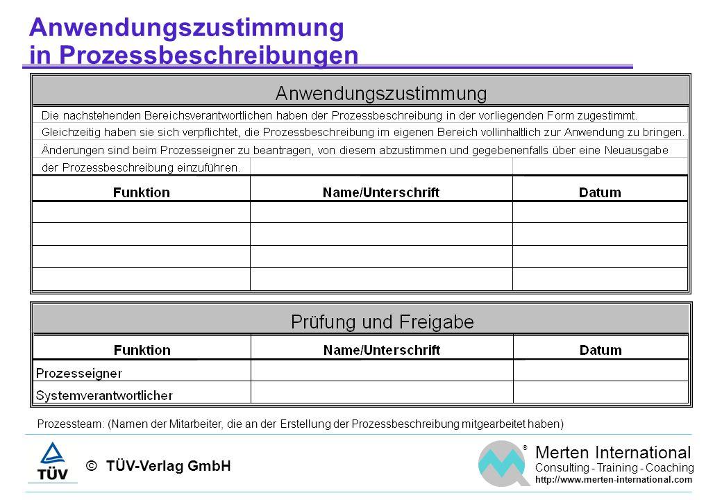 © TÜV-Verlag GmbH ® Merten International Consulting - Training - Coaching http://www.merten-international.com Anwendungszustimmung in Prozessbeschreib