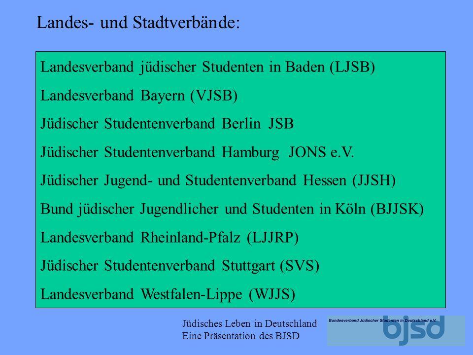 Jüdisches Leben in Deutschland Eine Präsentation des BJSD Kooperationspartner sind z.B. JAFI