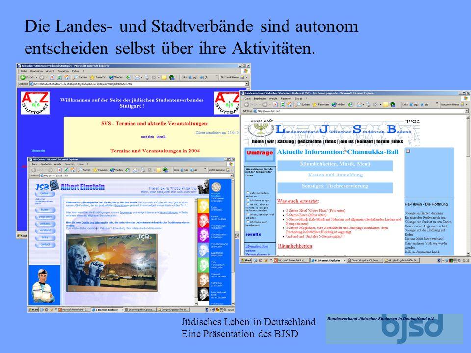Jüdisches Leben in Deutschland Eine Präsentation des BJSD Landesverband jüdischer Studenten in Baden (LJSB) Landesverband Bayern (VJSB) Jüdischer Stud