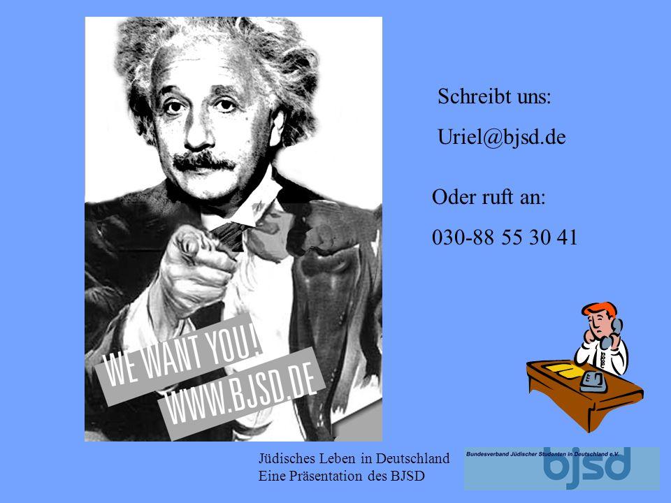 Jüdisches Leben in Deutschland Eine Präsentation des BJSD Der BJSD hilft durch seine Logistik, vermittelt z.B. Referenten und organisiert mehrmals jäh