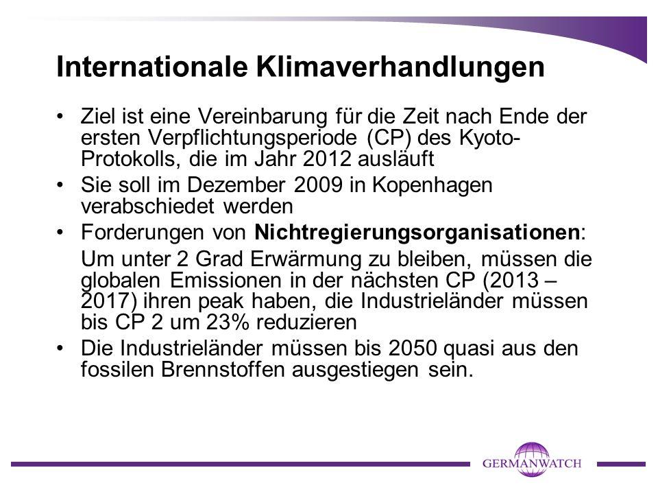 Internationale Klimaverhandlungen Ziel ist eine Vereinbarung für die Zeit nach Ende der ersten Verpflichtungsperiode (CP) des Kyoto- Protokolls, die im Jahr 2012 ausläuft Sie soll im Dezember 2009 in Kopenhagen verabschiedet werden Forderungen von Nichtregierungsorganisationen: Um unter 2 Grad Erwärmung zu bleiben, müssen die globalen Emissionen in der nächsten CP (2013 – 2017) ihren peak haben, die Industrieländer müssen bis CP 2 um 23% reduzieren Die Industrieländer müssen bis 2050 quasi aus den fossilen Brennstoffen ausgestiegen sein.