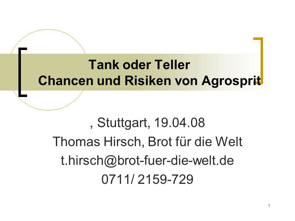 1 Tank oder Teller Chancen und Risiken von Agrosprit, Stuttgart, 19.04.08 Thomas Hirsch, Brot für die Welt t.hirsch@brot-fuer-die-welt.de 0711/ 2159-7