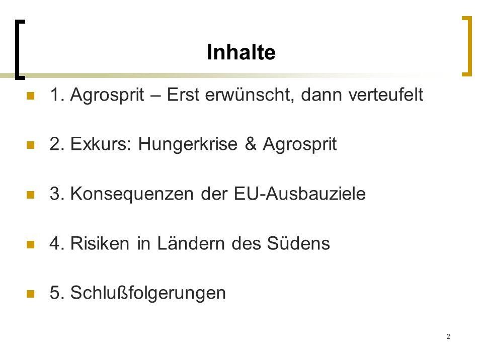 2 Inhalte 1. Agrosprit – Erst erwünscht, dann verteufelt 2. Exkurs: Hungerkrise & Agrosprit 3. Konsequenzen der EU-Ausbauziele 4. Risiken in Ländern d