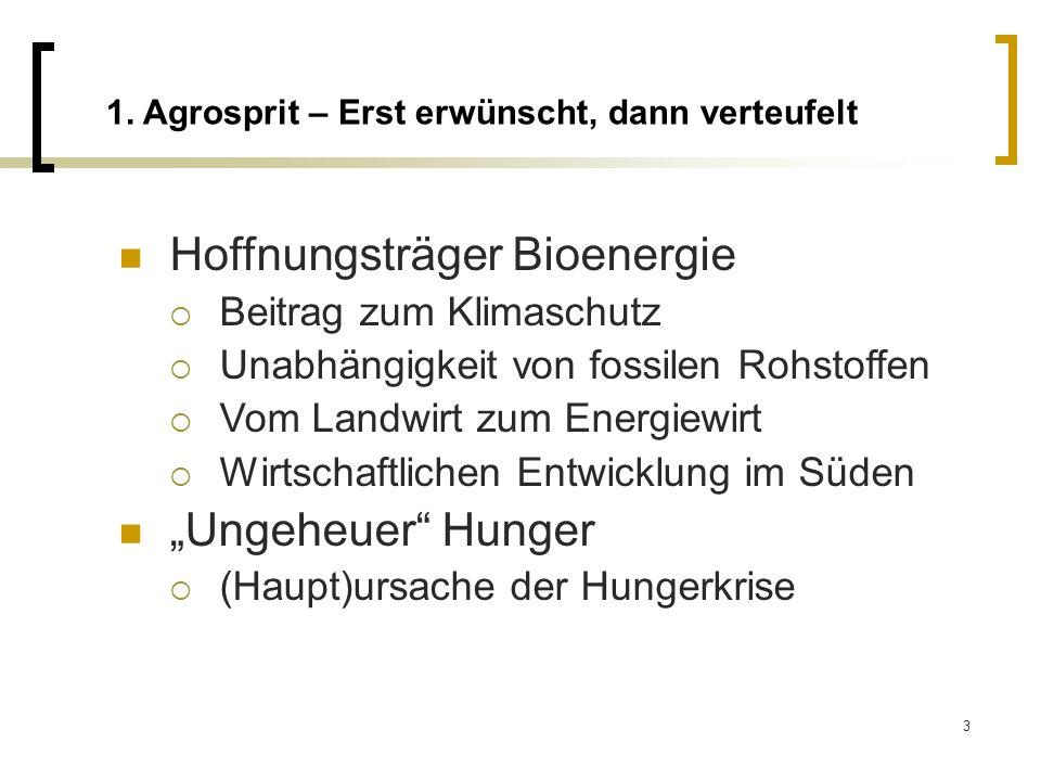 3 1. Agrosprit – Erst erwünscht, dann verteufelt Hoffnungsträger Bioenergie Beitrag zum Klimaschutz Unabhängigkeit von fossilen Rohstoffen Vom Landwir