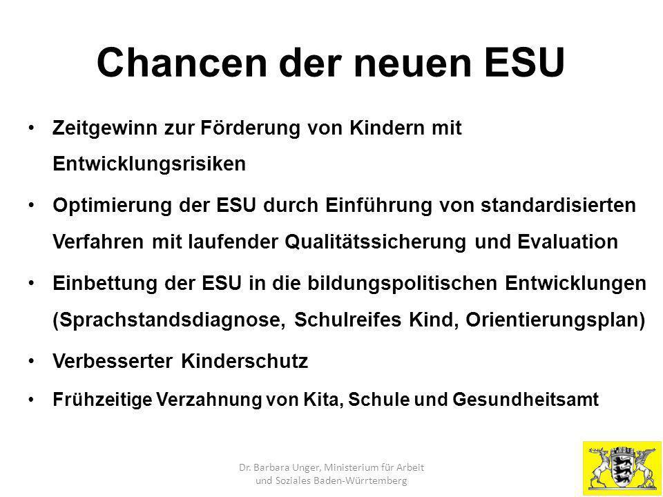 Chancen der neuen ESU Zeitgewinn zur Förderung von Kindern mit Entwicklungsrisiken Optimierung der ESU durch Einführung von standardisierten Verfahren