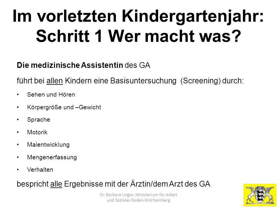 Im vorletzten Kindergartenjahr: Schritt 1 Wer macht was? Die medizinische Assistentin des GA führt bei allen Kindern eine Basisuntersuchung (Screening