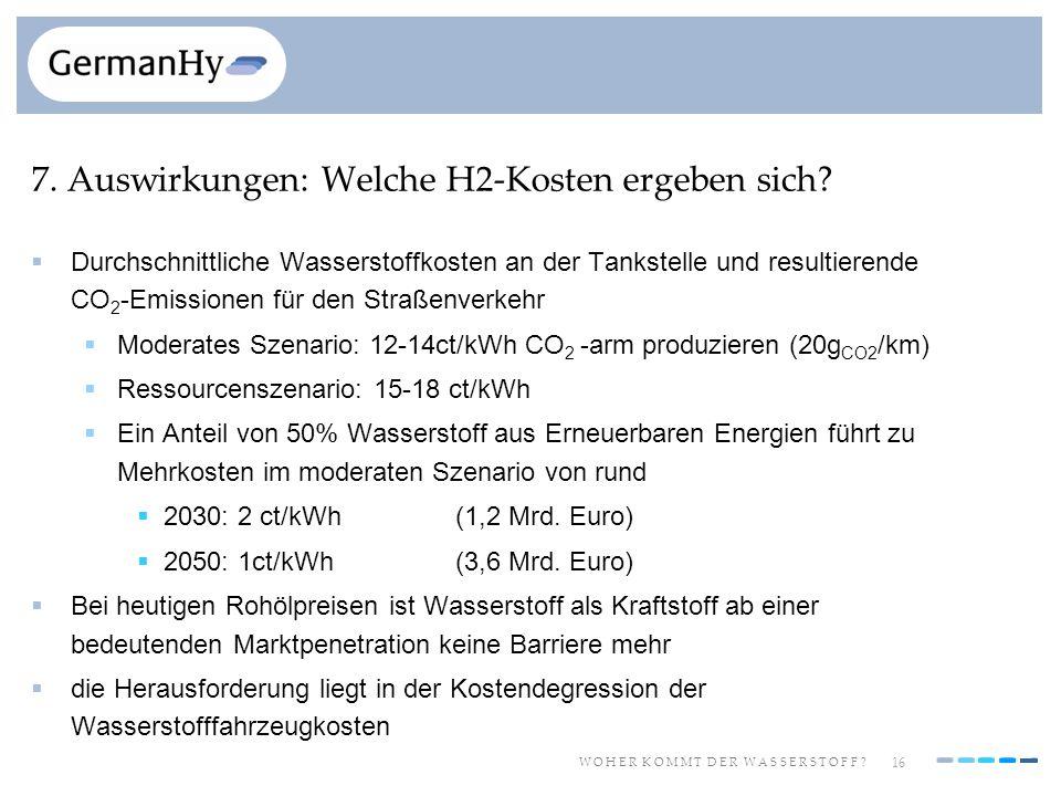 16 W O H E R K O M M T D E R W A S S E R S T O F F ? 7. Auswirkungen: Welche H2-Kosten ergeben sich? Durchschnittliche Wasserstoffkosten an der Tankst