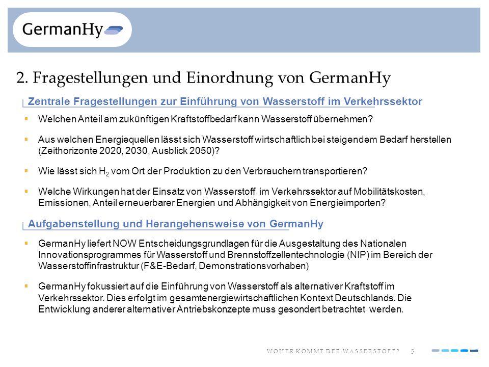 5 W O H E R K O M M T D E R W A S S E R S T O F F ? 2. Fragestellungen und Einordnung von GermanHy Welchen Anteil am zukünftigen Kraftstoffbedarf kann