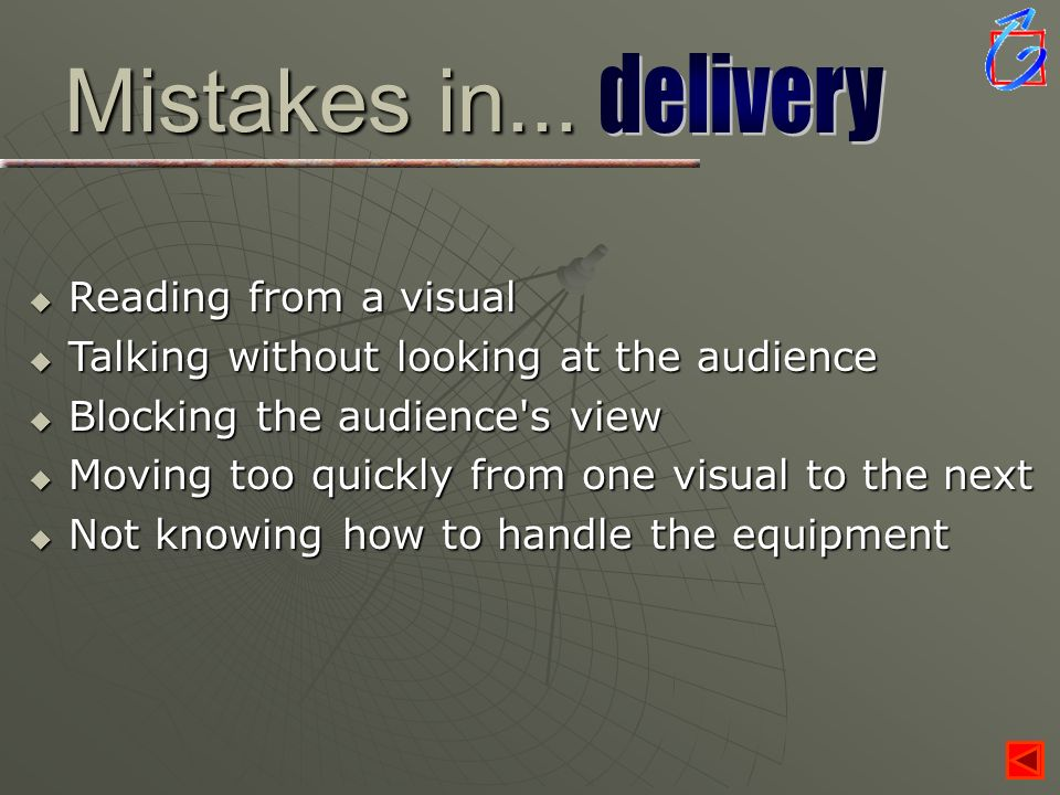 Mistakes in... Reading from a visual Reading from a visual Talking without looking at the audience Talking without looking at the audience Blocking th