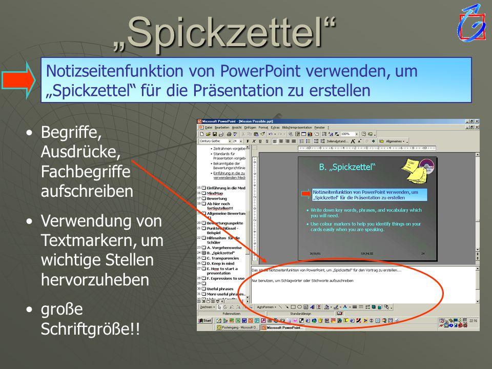 Notizseitenfunktion von PowerPoint verwenden, um Spickzettel für die Präsentation zu erstellen Begriffe, Ausdrücke, Fachbegriffe aufschreiben Verwendu