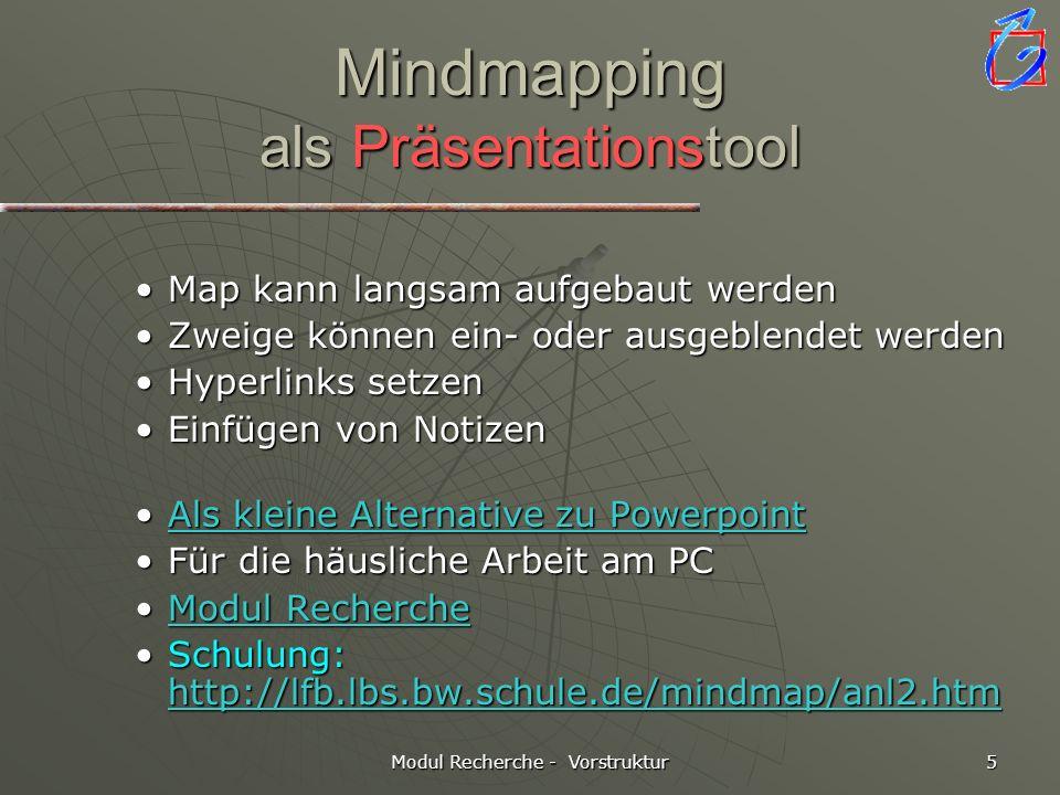 Modul Recherche - Vorstruktur 5 Mindmapping als Präsentationstool Map kann langsam aufgebaut werdenMap kann langsam aufgebaut werden Zweige können ein