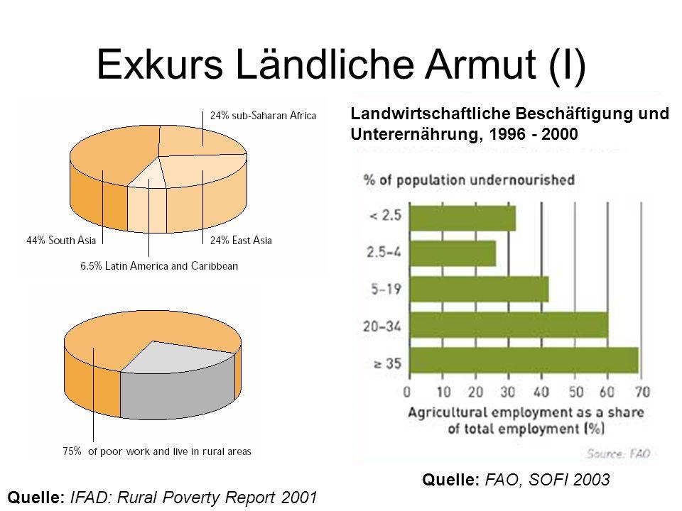 Exkurs Ländliche Armut (I) Quelle: IFAD: Rural Poverty Report 2001 Quelle: FAO, SOFI 2003 Landwirtschaftliche Beschäftigung und Unterernährung, 1996 -
