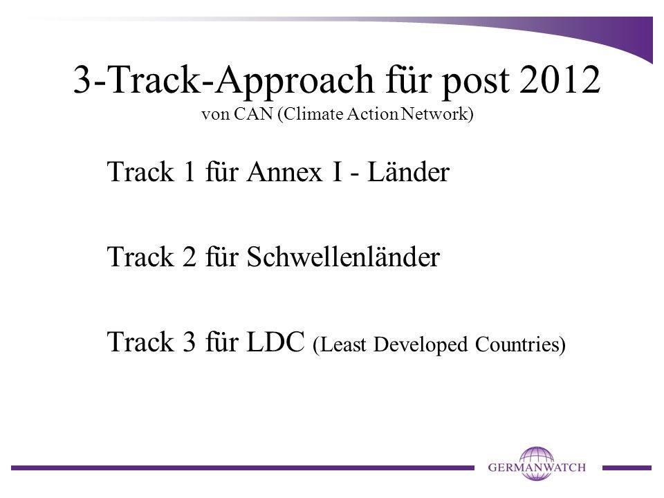 3-Track-Approach für post 2012 von CAN (Climate Action Network) Track 1 für Annex I - Länder Track 2 für Schwellenländer Track 3 für LDC (Least Develo