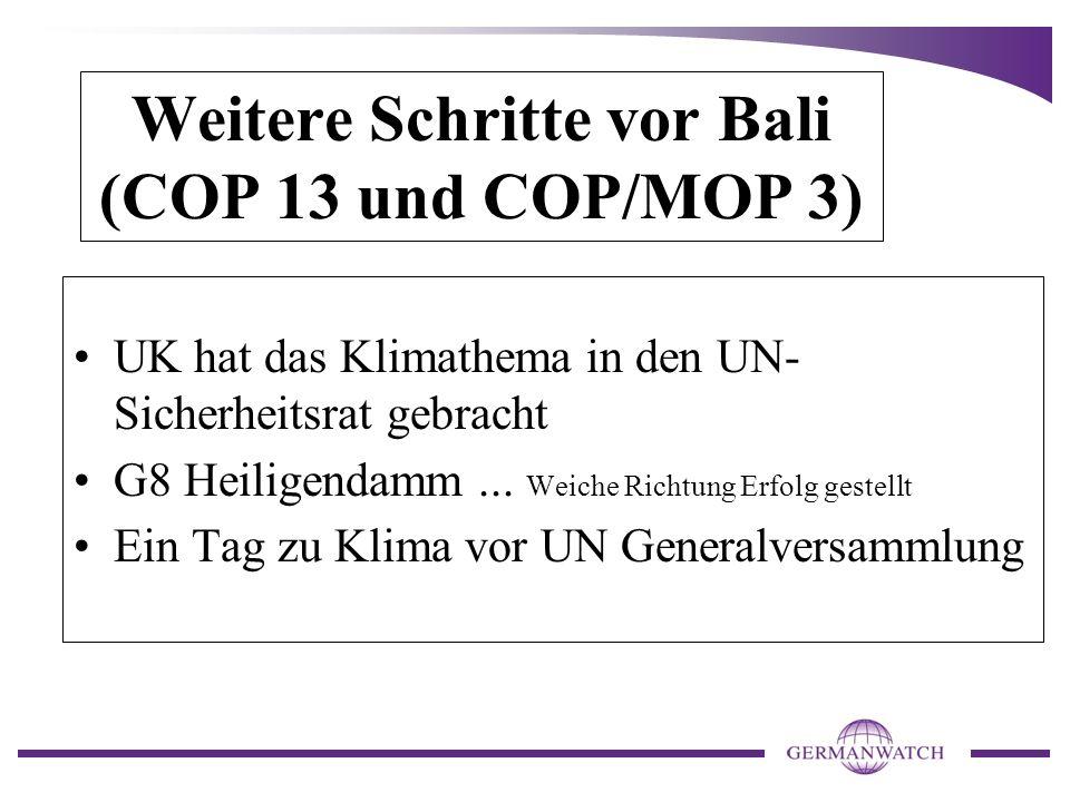 Weitere Schritte vor Bali (COP 13 und COP/MOP 3) UK hat das Klimathema in den UN- Sicherheitsrat gebracht G8 Heiligendamm... Weiche Richtung Erfolg ge
