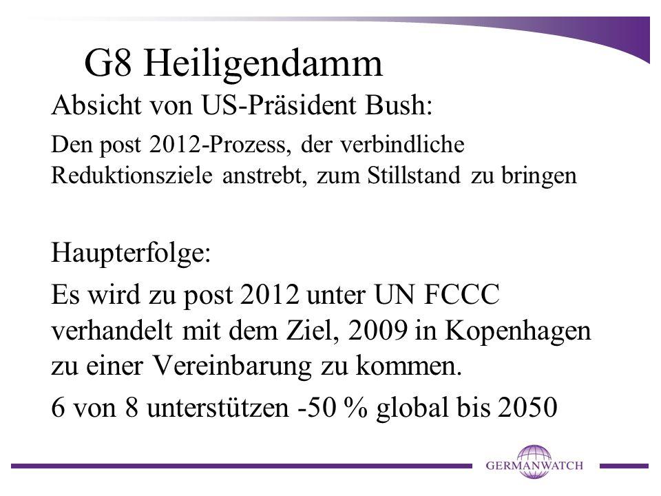 G8 Heiligendamm Absicht von US-Präsident Bush: Den post 2012-Prozess, der verbindliche Reduktionsziele anstrebt, zum Stillstand zu bringen Haupterfolg