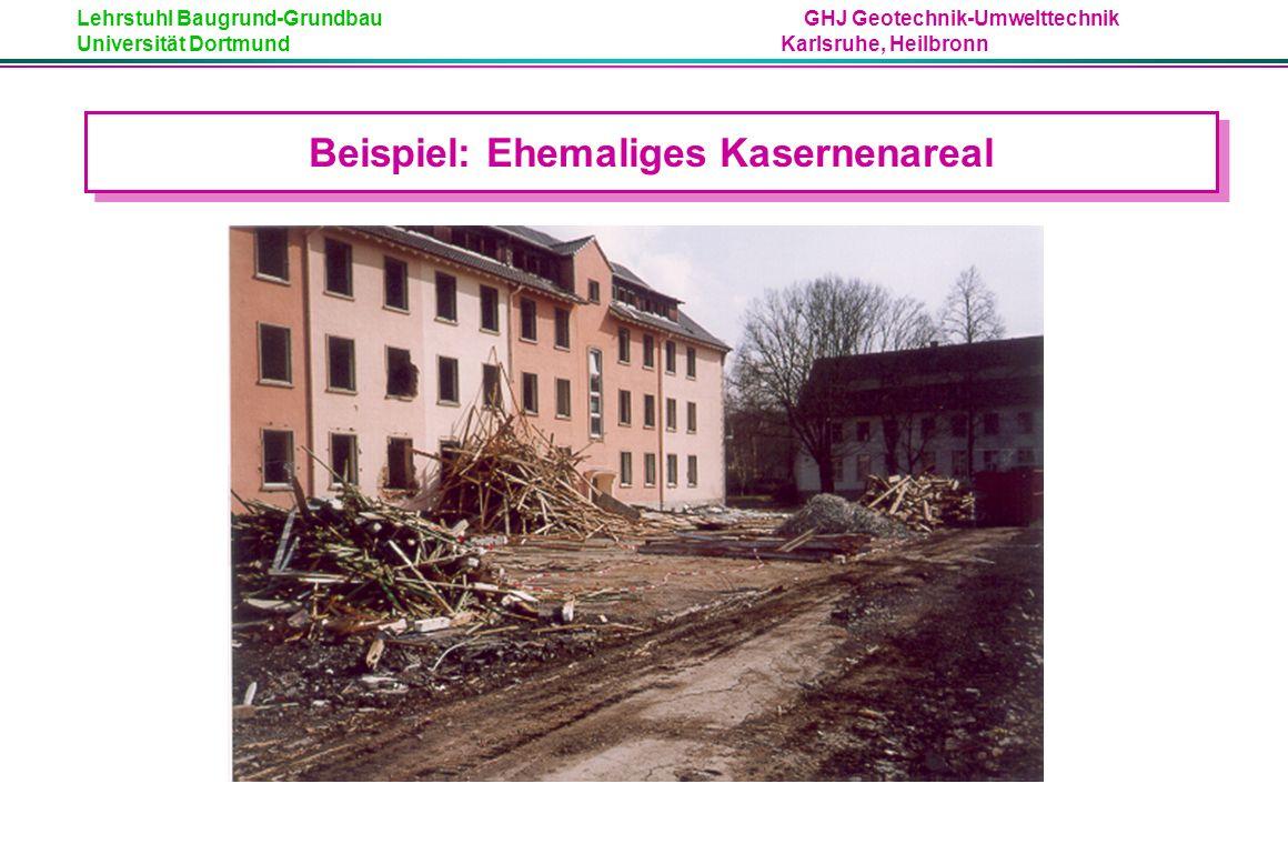 Lehrstuhl Baugrund-Grundbau GHJ Geotechnik-Umwelttechnik Universität Dortmund Karlsruhe, Heilbronn Beispiel: Ehemaliges Kasernenareal