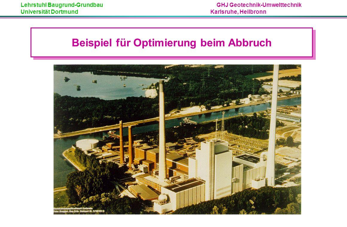 Lehrstuhl Baugrund-Grundbau GHJ Geotechnik-Umwelttechnik Universität Dortmund Karlsruhe, Heilbronn Beispiel: Kosten bei Abbruch