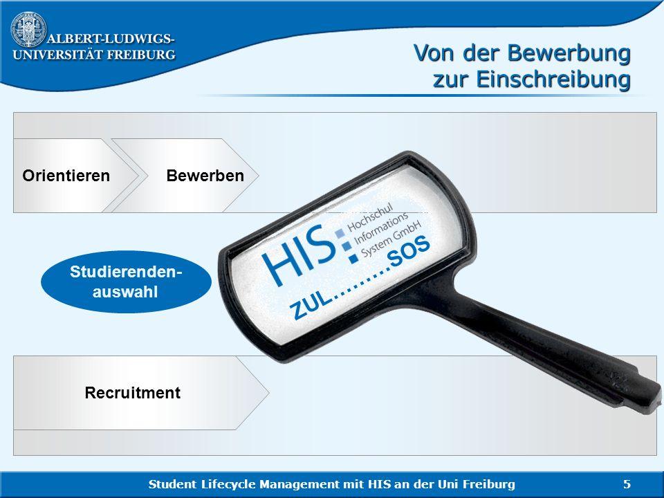 Student Lifecycle Management mit HIS an der Uni Freiburg5 Recruitment Orientieren Bewerben Studierenden- auswahl Von der Bewerbung zur Einschreibung Z